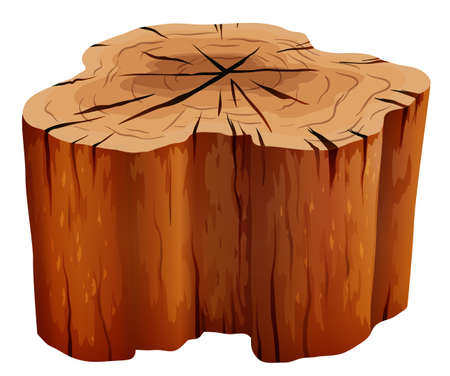 Illustration of a big stump on a white background Vector