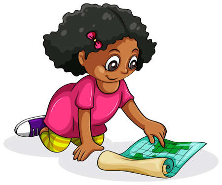 dark complexion: Illustration of a Black young girl studying on a white background