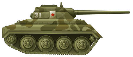 frontline: Illustration of an armoured tank on a white background Illustration