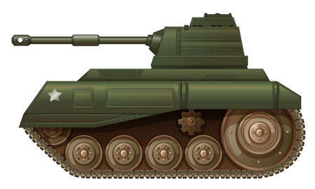 frontline: Illustration of a green military tank on a white background