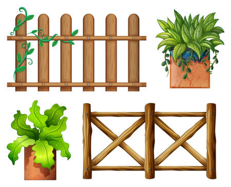 Illustration of the wooden fence and potted plants on a white background Vector