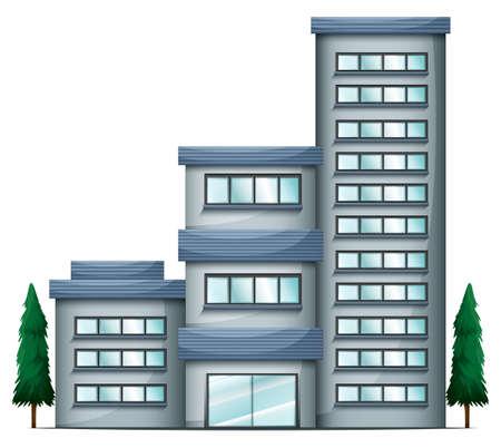 콘도: 흰색 배경에 고층 콘도 건물의 그림