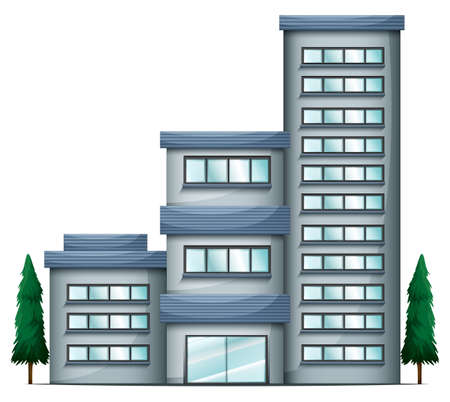 condominium: Illustration of a tall condo building on a white background Illustration
