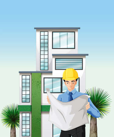 reading materials:  Illustration of an engineer outside the tall building