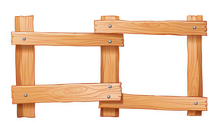 Illustration of a fence made of wood on a white background