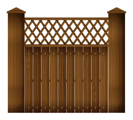 Illustration of a wooden gate on a white background