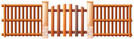 panelling: Illustration of a wooden barricade on a white background