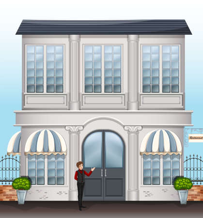 service entrance: Illustration of a waiter near the entrance door of the restaurant Illustration