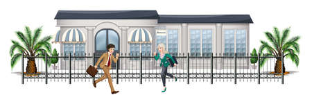 Illustration of the people running in front of the gated building on a white background