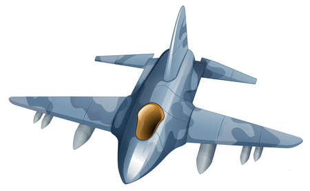the air attack: Illustration of a fighter plane on a white background