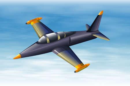 jetplane: Illustration of a sky with a fighter jet