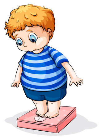 weighing scale: Illustration of a fat Caucasian boy on a white background Illustration