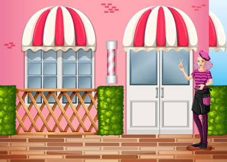 woman washing hair: Illustration of a hairdresser in front of the restaurant