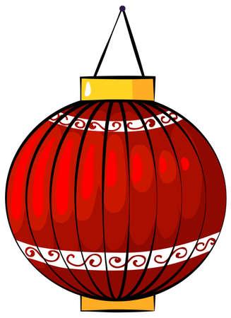 red lantern: Illustration of a red lantern on a white background Illustration
