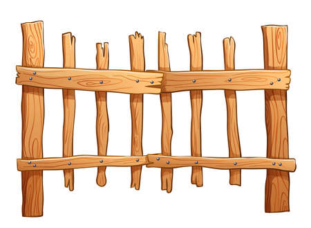 Illustration of the fence made of wood on a white background Vector