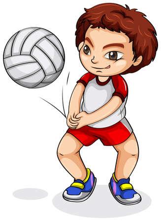 volleyball serve: Ilustraci�n de un jugador de voleibol asi�tica en un fondo blanco