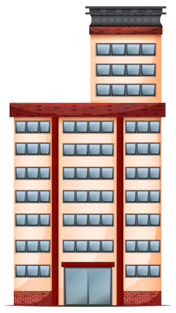 civil engineers: Illustration of a tall commercial building on a white background