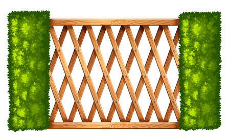 superstructure: Illustration of a fence with plants on a white background