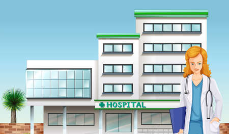 Illustration of a doctor in front of the hospital building Vector