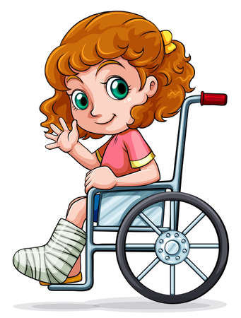 injure: Illustration of a Caucasian girl sitting on a wheelchair on a white background Illustration