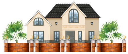 gated: Illustration of a gated house on a white background
