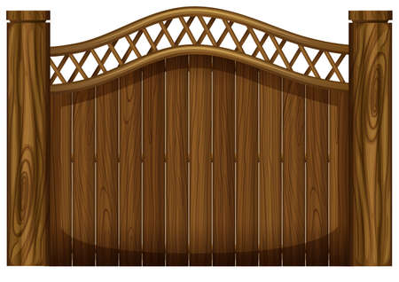 panelling: Illustration of a tall wooden gate on a white background Illustration