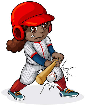 Illustration of a Black girl playing baseball on a white background