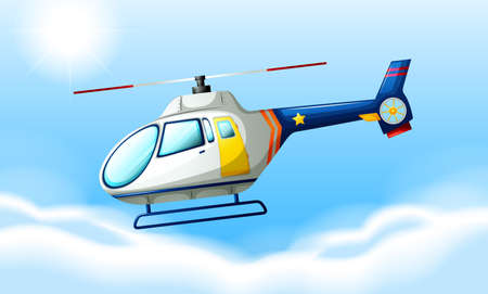 Illustration of a helicopter flying in the sky Illustration