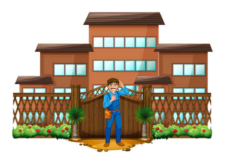 front gate: Illustration of a carpenter in front of the house with a wooden gate on a white background