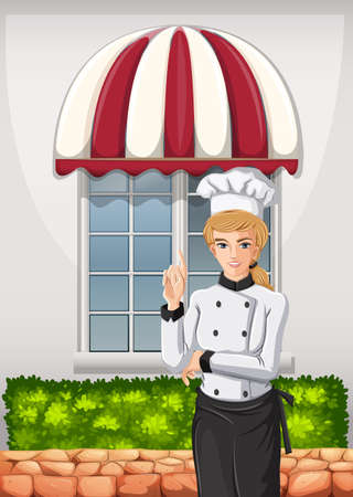 Illustration of a chef in front of the restaurant Vector