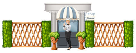 Illustration of a chef in front of the restaurant with wooden fence on a white background Vector