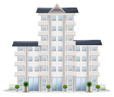 occupancy: Illustration of a tall establishment on a white background