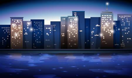 night vision: Illustration of a city