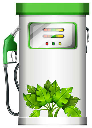 Illustration of a gasoline pump with plants on a white background Vector