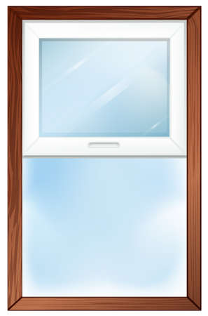 Illustration of a window with wooden frame on a white background