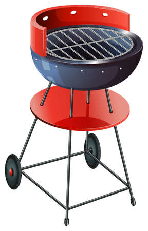 gas barbecue: Illustration of a round barbeque grill on a white background