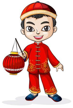 hombre con sombrero: Ilustraci�n de un chino que lleva un sombrero sobre un fondo blanco