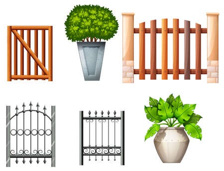 panelling: Illustration of the different fences and gates with plants on a white background