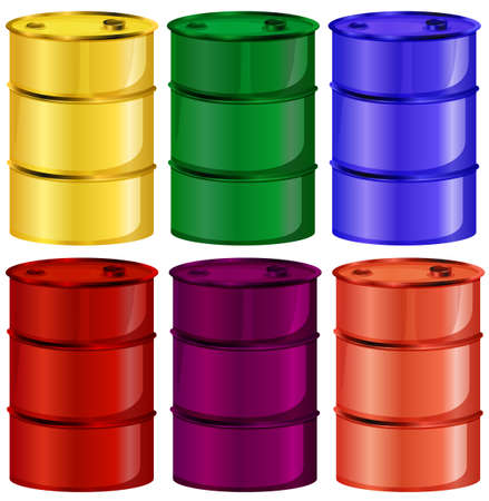 image size: Illustration of the six colorful barrels on a white background
