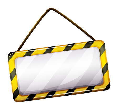 rope barrier: Illustration of an empty under construction sign on a white background