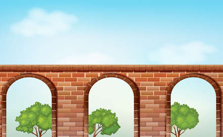 viaducts: Illustration of a bridge with trees