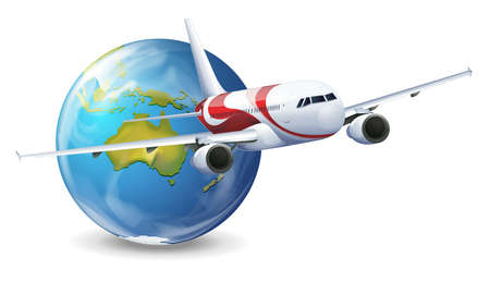 airplane: Illustration of travel concept - Earth and airplane on a white background