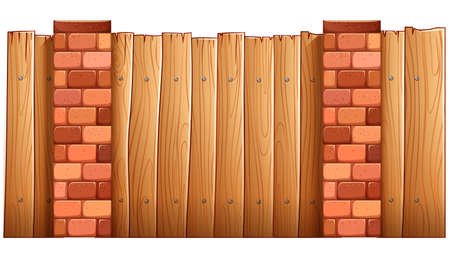 panelling: Illustration of a fence made of wood and bricks on a white background