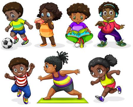 Ilustración de los niños africanos participar en las diferentes actividades en un fondo blanco Vectores