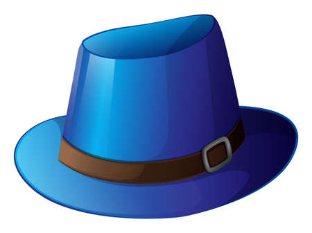 hard rain: Illustration of a blue hat with a brown belt on a white background Illustration