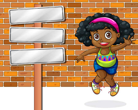 panelling: Illustration of a girl jumping in front of the stonewall beside the empty signboard