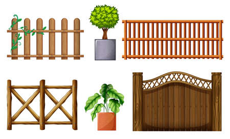 superstructure: Illustration of the different design of wooden fences on a white background