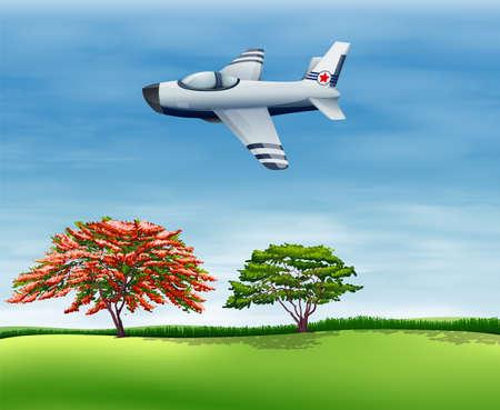 Illustration d'un avion volant dans le ciel Vecteurs