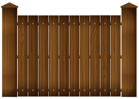 Illustration of a wooden fence on a white background