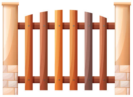 panelling: Illustration of a vertical fence on a white background